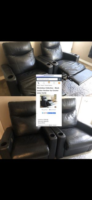 *Delivery* Leather Coaster Theater recliner's $850 both or $1k table for Sale in Riverside, CA