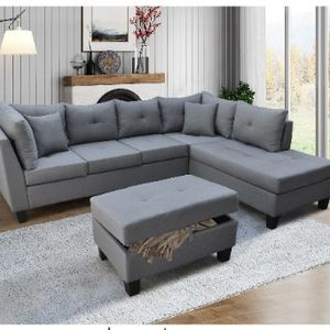 Grey Sectional Sofa W/ Storage Ottoman ( Non Reversible) Right-hand facing Chaise All New In Boxes for Sale in Santa Fe Springs, CA