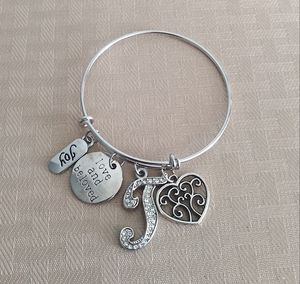 """Silver Bangle & Crystal """"T"""" Charm for Sale in Baltimore, MD"""
