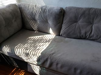 Lounge Chaise Grey Microfiber With 4 Stains But So Comfy Just No Room In New Place for Sale in St. Petersburg,  FL