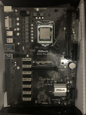 ASRock motherboard H 110 Pro BTC + whit Intel Core I-7 6700 Skylike Processor 4GHz never use for Sale in Panama City, FL