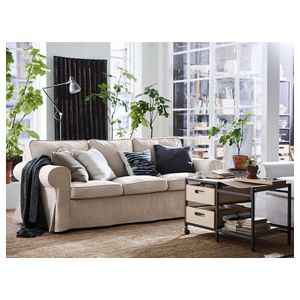 Beige Sofa with Storage Ottoman for Sale in Raleigh, NC