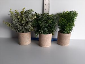 Fake Plants Mini Artificial Plants Potted Artificial Shrubs, 3pcs Artificial Pot for Sale in Houston, TX