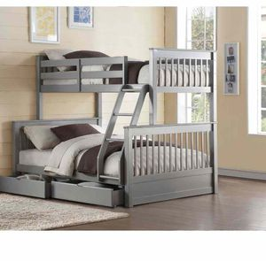 Twin/Full Bunk Bed w/2 Drawers - 37755 - Gray CN4 for Sale in Ontario, CA