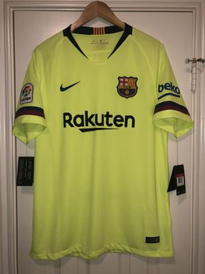 New L Nike FC Barcelona 2018 Away Kit Jersey Neon Yellow Barca for Sale in Houston, TX