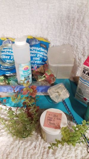 Random pond treatment salt water fish tank lot water clear for Sale in Moreno Valley, CA