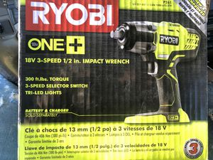 Ryobi 18 volt 3 speed impact wrench for Sale in Sunnyvale, CA
