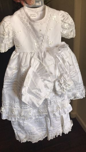 New baptism dresses one size a white one and beige for Sale in Elk Grove, CA