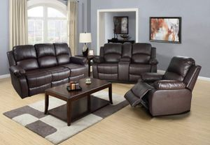 New brown bonded leather reclining sofa, love seat, and chair for Sale in Renton, WA