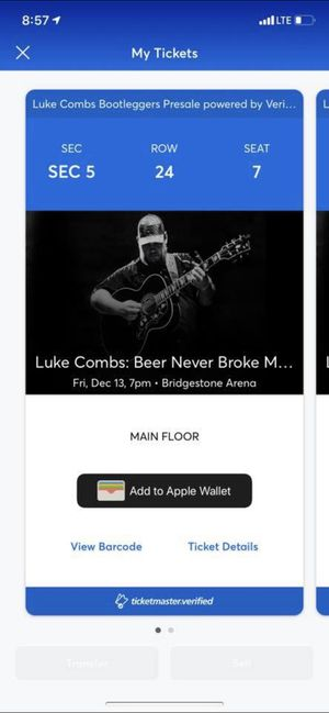 Sold out Luke Combs tickets for 12/13 for Sale in Fort Campbell, KY