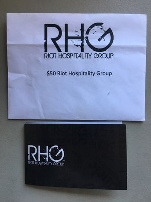 New card-Riot Hospitality Group (RHG) card $50 for Sale in Tempe, AZ
