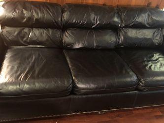 Black Top Grain Leather Sofa for Sale in Austin,  TX