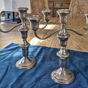 Sterling Silver Convertible Candelabra Pair - 3 Candles Each for Sale in Haines City, FL