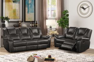 NEW IN THE BOX. BLACK 2PC MANUAL RECLINER AIR LEATHER LIVING ROOM SET, SKU# TC8086-2PC for Sale in Fountain Valley, CA