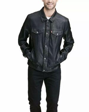 Levi's black leather jacket coat men's size large for Sale in San Francisco, CA