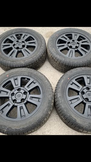 "New condition 20"" Black Toyota tss Rims And new Tires Original Factory Wheels 2019 Rines y llantas 2007 tundra 2008 sequoia 2009 rines 2010 y 2011 ll for Sale in Dallas, TX"