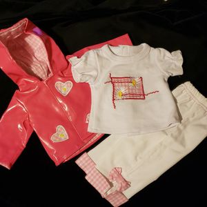 "3 pc Outfit fits 18"" Doll & American Girl Pink vinyl Jacket Check Nice Detail for Sale in Port St. Lucie, FL"