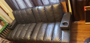Black leather futon with cup holders for Sale in Waterford, CT