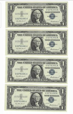 4 Uncirculated Conservative Serial Numbers Silver certificates for Sale in Brooklyn, NY