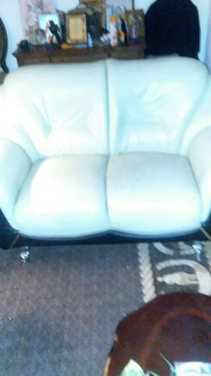 Leather white couch for Sale in Albuquerque, NM