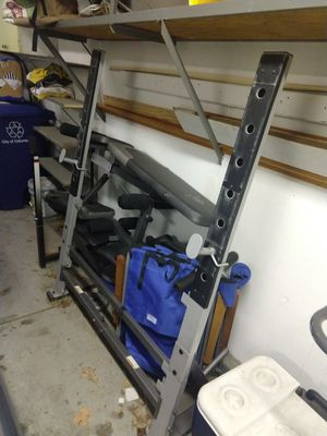 2 benches, a small curling bar, random weights for Sale in Galloway, OH