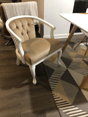 Two white and champagne barrel chairs antique for Sale in Boynton Beach, FL