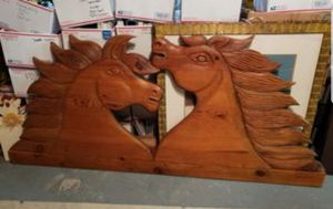 2 horse king queen headboard carved wall art for Sale in New Port Richey, FL