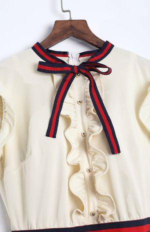 Fashion round neck ruffle design beige sheath knee length dress for Sale in Belzoni, MS