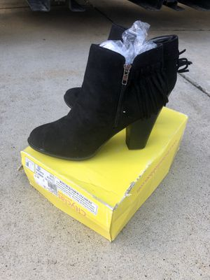 Brand New Black Boots (wedge bootie) :: Black w/ Fringe Size 10 for Sale in Roseville, CA