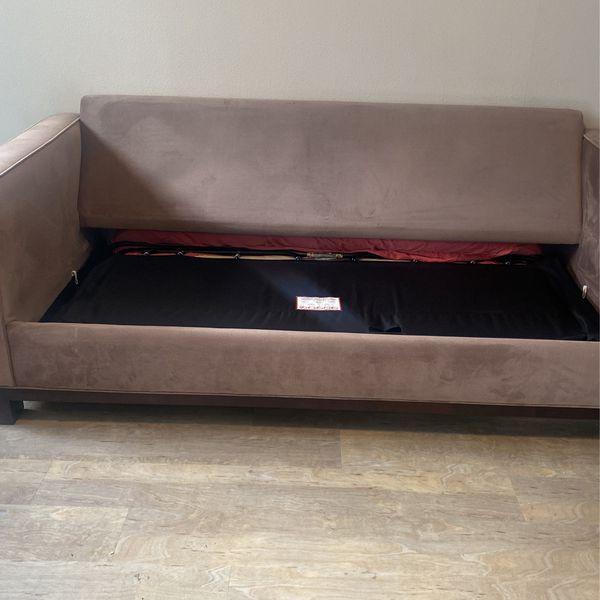 Tan Microsuade Sleeper Sofa
