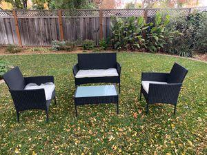 Wicker Chair Couch Table Patio Set Rattan Black for Sale in Pleasanton, CA