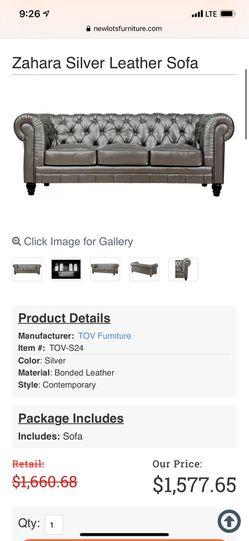 Brand New Still In Box Tov-s24 Zahara Silver Leather Sofa for Sale in Mendon,  MA