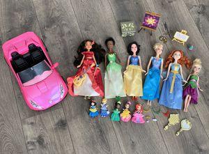 Disney Princess Dolls & Pink Car for Sale in Washougal, WA