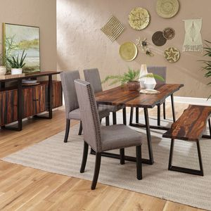 2 PC SET Ditman Live Edge Dining Table Grey Sheessam And Black Rustic Wooden Oak Table With Dining Bench for Sale in Tustin, CA
