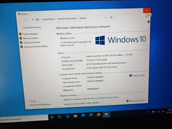 "Touchscreen i5 6th Generation 12GB Memory Ram Windows 10 Pro 14"""
