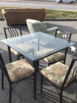 Black Metal Glass Square Dining Table With 4 Floral Chairs for Sale in Marietta,  GA