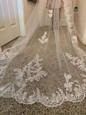Cathedral veil for wedding dress- pure white for Sale in Gilbert, AZ