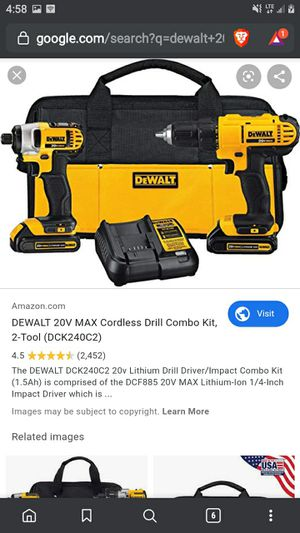 Dewalt 20 volt max lithium ion impact driver combo for Sale in Cheyenne, WY