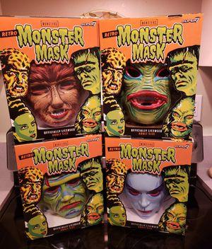 Universal Movie Monster masks 80s retro style Frankenstein, Werewolf, Bride of Frankenstein, Creature from Black Lagoon for Sale in Miami, FL