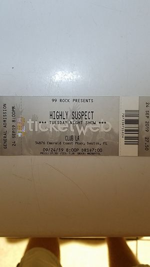 Two tickets to see highly suspect and Club LA in Destin tonight at 7 p.m. I'll let him go at the lowest 50 bucks I paid 70 full price for Sale in Fort Walton Beach, FL