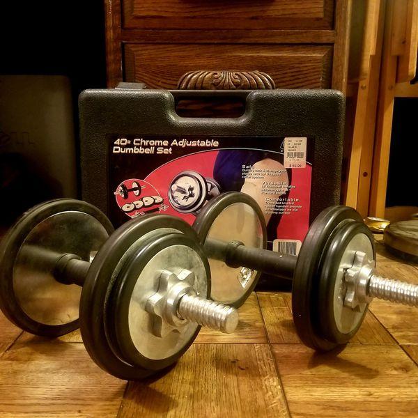 40 lb Chrome Adjustable Dumbbell Set