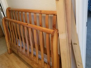 Queen wood sleigh bed frame for Sale in Denver, CO