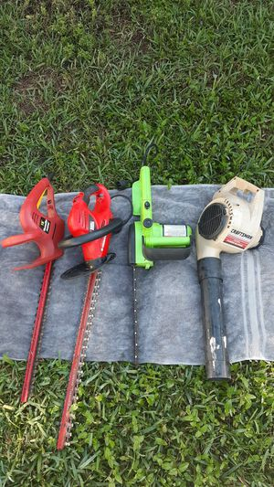 Lawn equipment for sale ! craftsman leaf blower , porland chainsaw and 2 hedgers for Sale in Fort Lauderdale, FL
