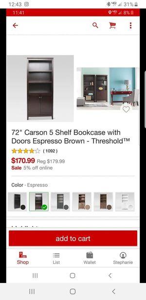 Brand new 5 shelf bookcase w/doors for Sale in San Bernardino, CA