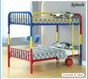 Brand new in box multicolored metal twin twin bunk bed only for Sale in College Park, MD