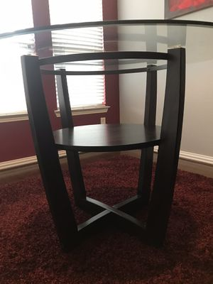 Round Glass Top, Counter Height Dining Table, Cappuccino/Expresso Wood Legs/Base for Sale in Flower Mound, TX