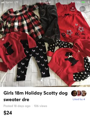 Girls 18m Holiday Scotty Dog black and white themed clothing Lot includes all six pieces two sweaters one leggings one pants two dresses brands or ba for Sale in Bethlehem, PA