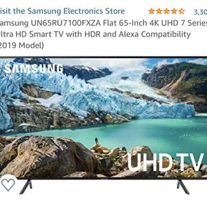 Samsung flat 65-Inch 4K UHD 7 Series Ultra HD Smart TV with HDR and Alexa Compatibility (2019 Model) for Sale in Bellevue, WA