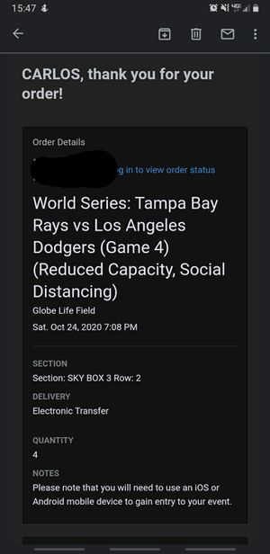 World Series Game 4- Dodgers vs Rays for Sale in Los Angeles, CA