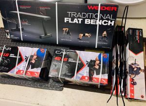All Brand New🎁 Weider Flat Bench + 80 lbs Dumbbell + Super Curl Bar🏋🏻‍♀️💪 for Sale in Stockton, CA